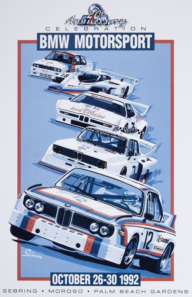 BMW Motorsport Vintage style poster by © Dennis Simon. This poster is available... - AutoCar