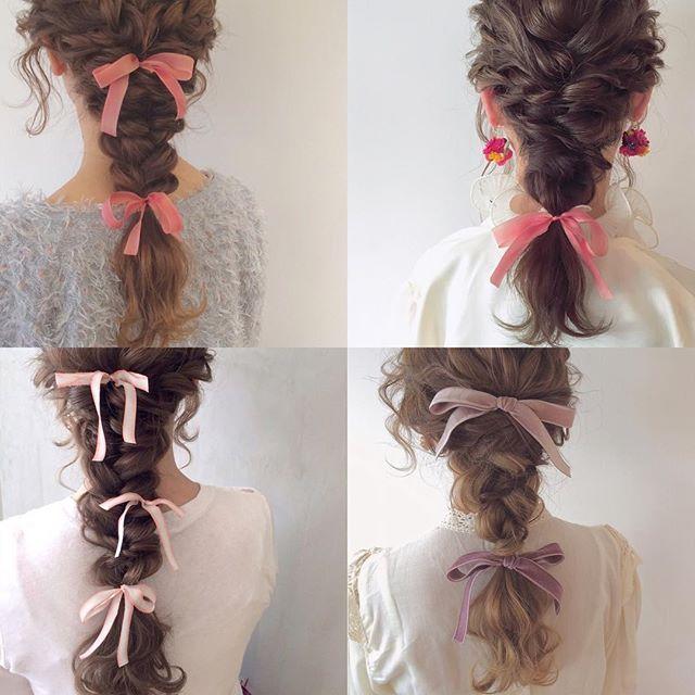 ピンク リボン 編みおろし ピンク色かわいい 愛知 名古屋
