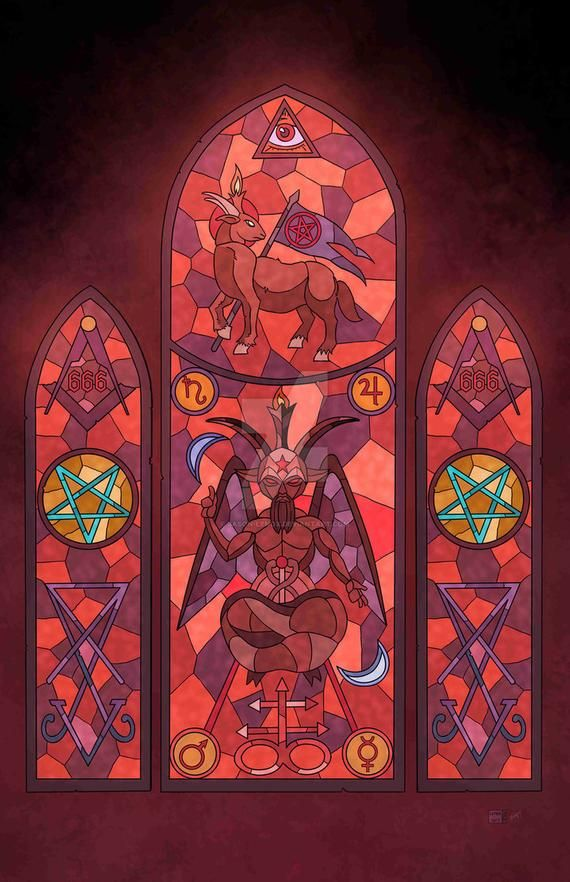 Satanic Stained Glass with Baphomet Print in 2020