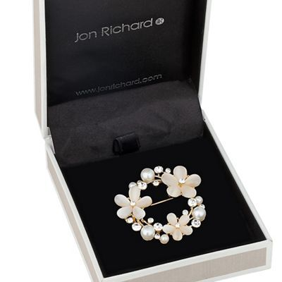 Jon Richard Cats Eye Effect Floral And Crystal Wreath Brooch