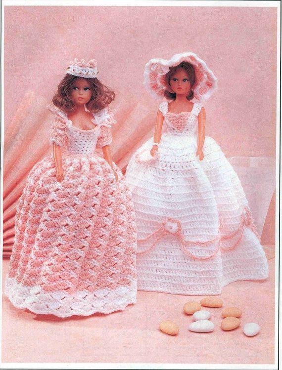 Vintage Crochet Pattern Fashion Doll Barbie Sindy Dresses pattern instant download crochet pattern