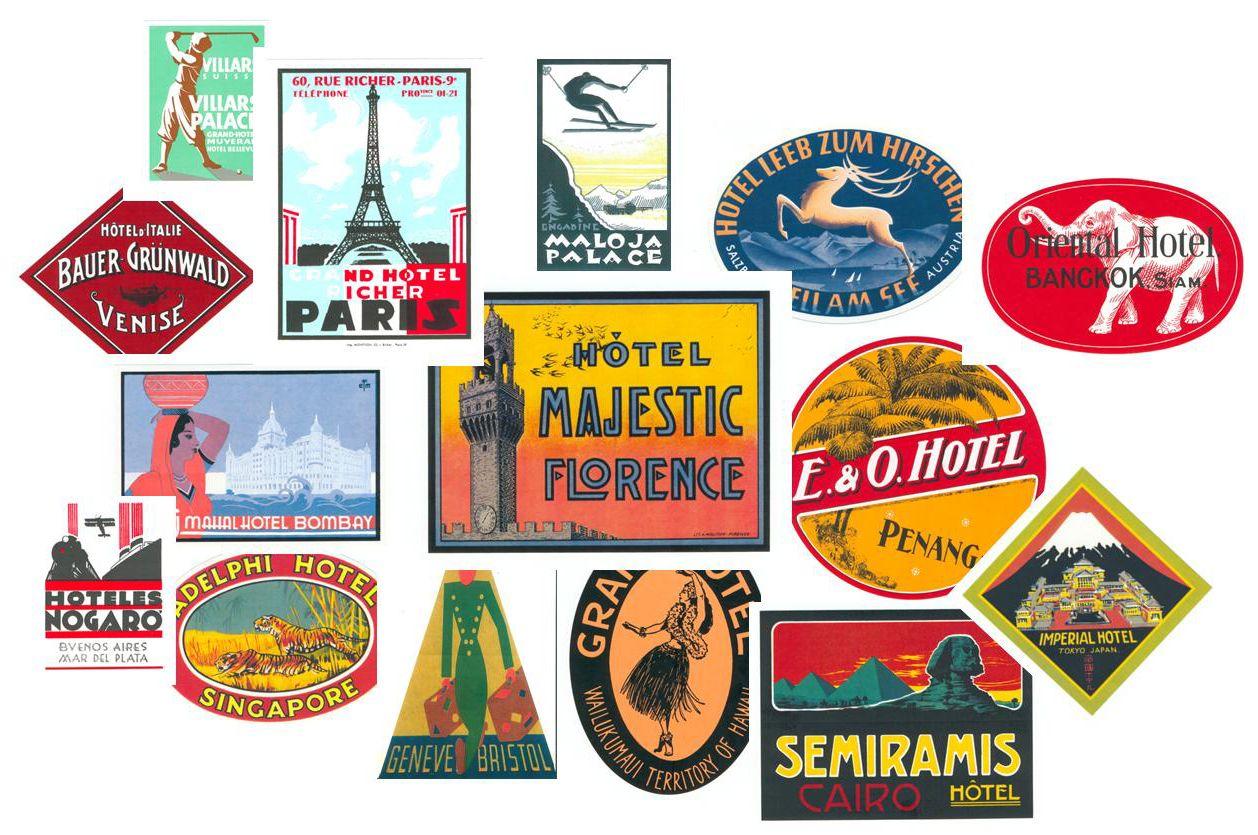 suitcase stickers of city landmarks retro posters pinterest