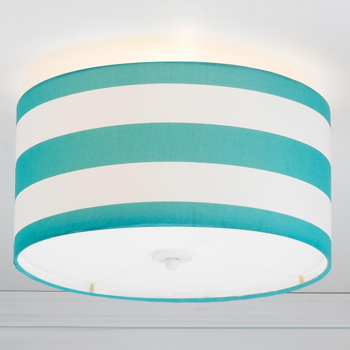 Deck Stripe Drum Shade Flush Mount Ceiling Light in Turquoise