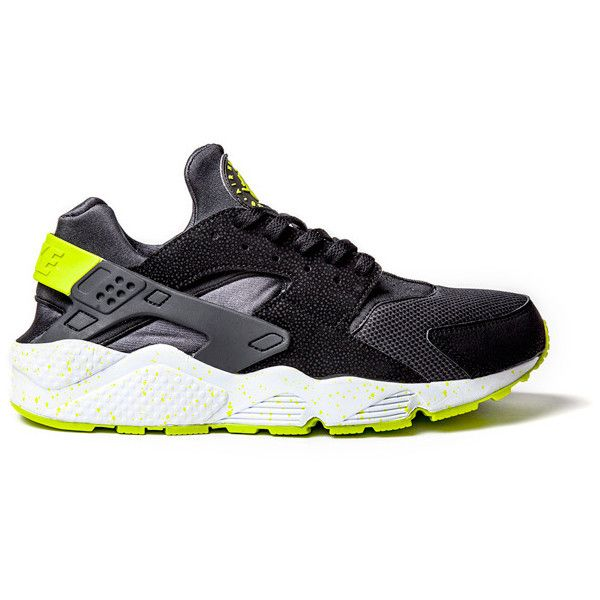 separation shoes 3ec55 3a8c2 NIKE AIR HUARACHE (BLACK VENOM GREEN) Sneaker Freaker ❤ liked on Polyvore  featuring shoes and sneakers