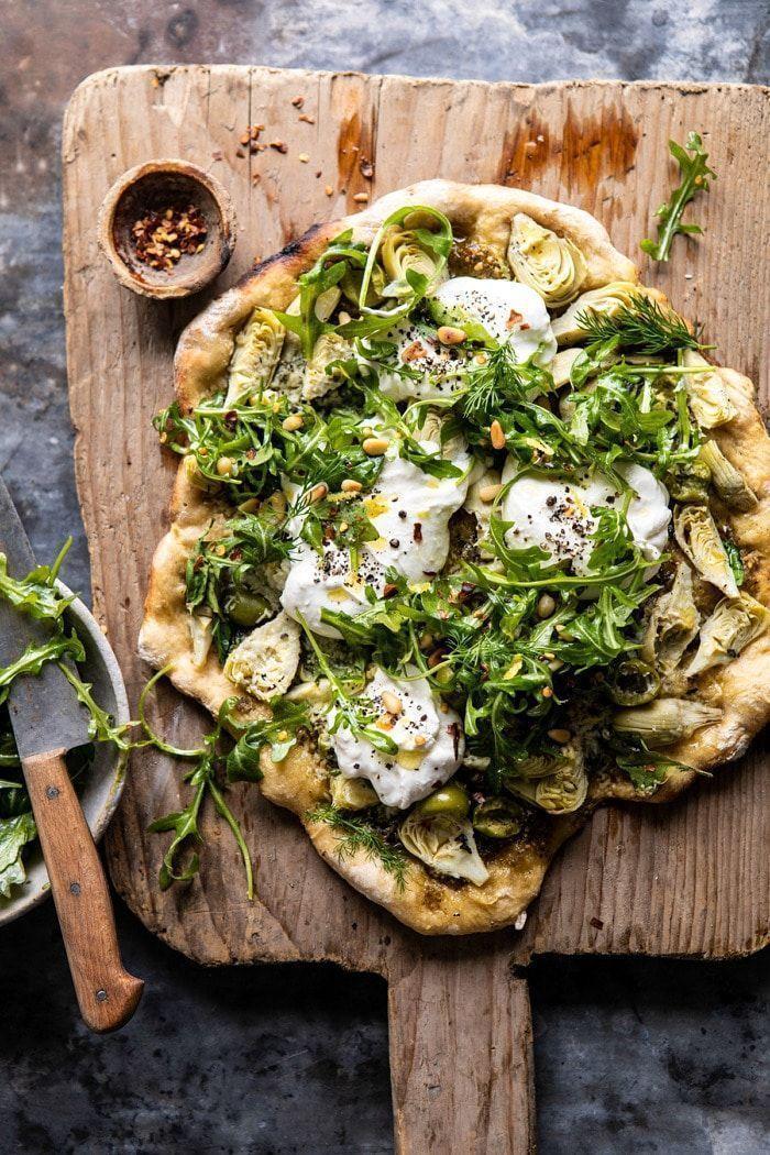 Artichoke Pesto and Burrata Pizza with Lemony Arugula. - Half Baked Harvest