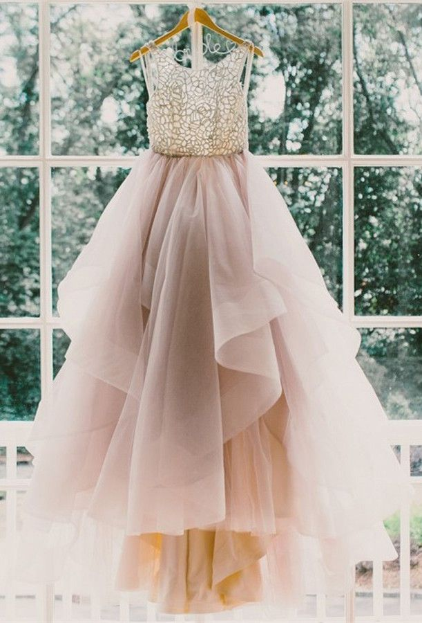 Princess Long Scoop Backless Ball Gown Prom Dresses/Wedding Dresses ...