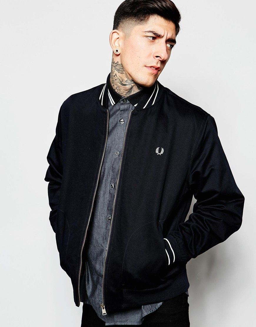 55abcfcb496 Image 1 of Fred Perry Bomber Jacket with Tipping | Clothing ...