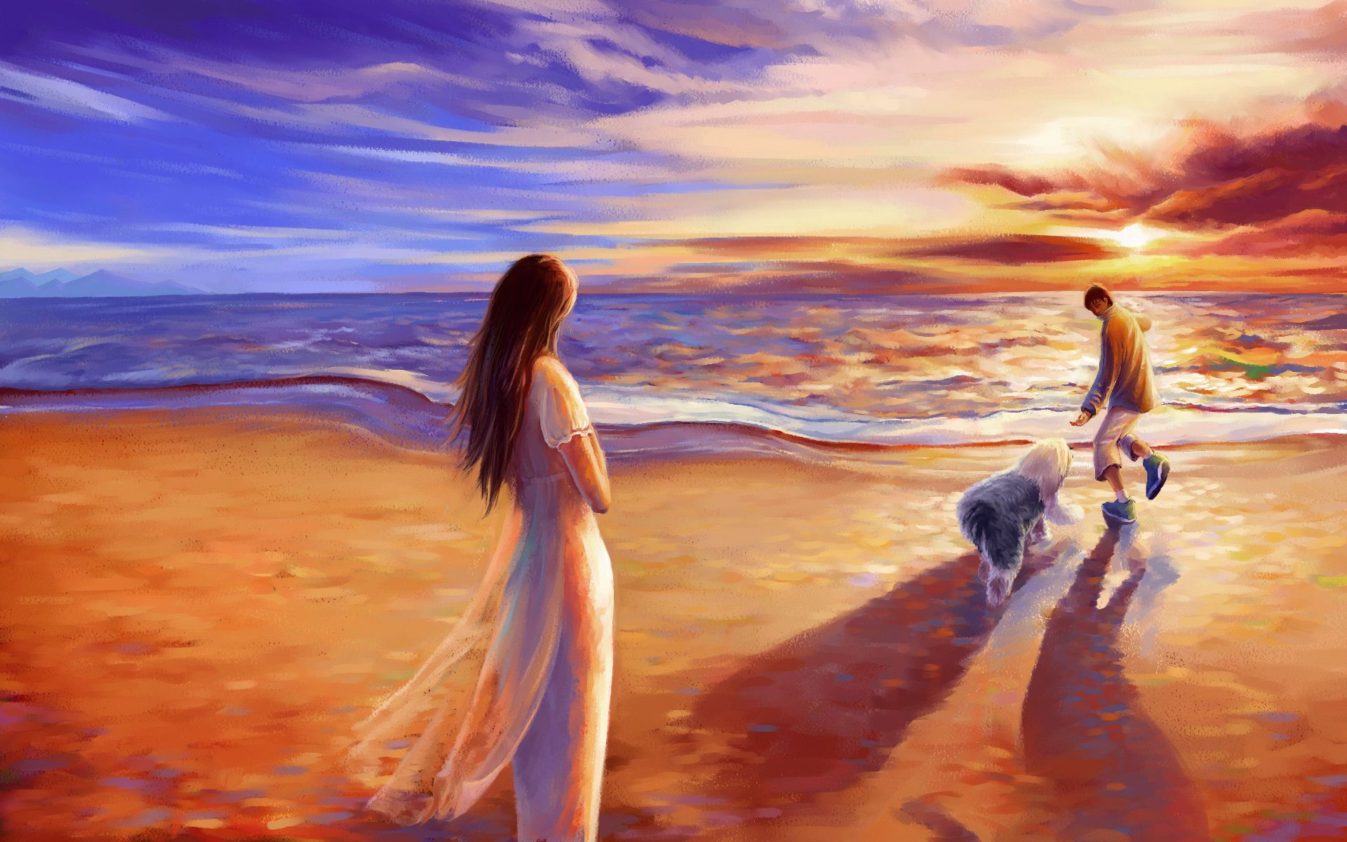 beach art beach, couple, dog, art, paint, sea wallpapers