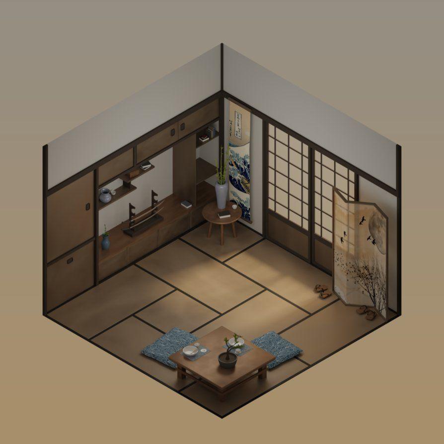 Isometric Japanese House Interior Halcyon-design