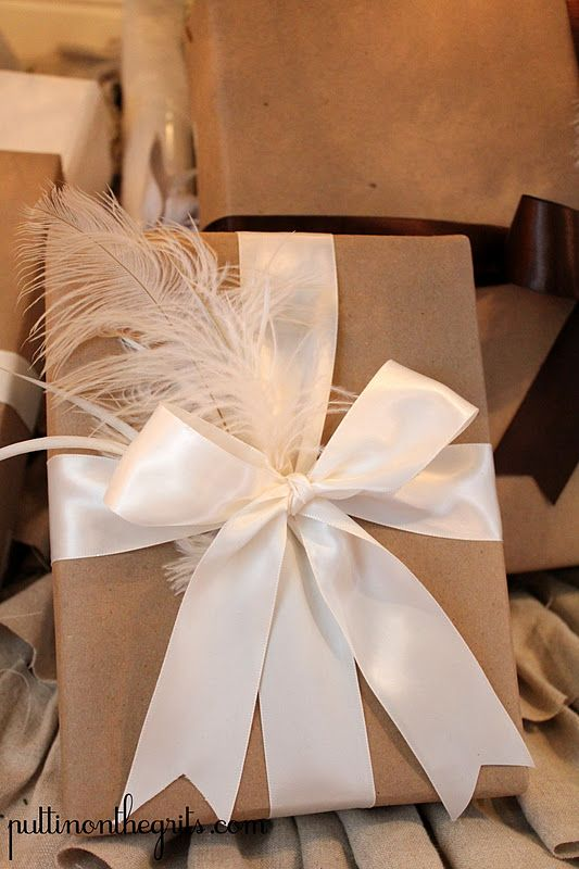 One of my favorite ways of wrapping a gift simple and elegant simply wrap a box with plain paper finish it with a wide satin ribbon and a bit of matching tulle this would be pretty for a wedding gift negle Choice Image