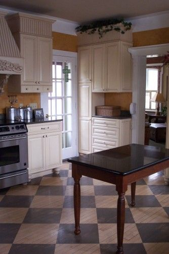 victorian style kitchen - painted floors & furniture like cabinets ...