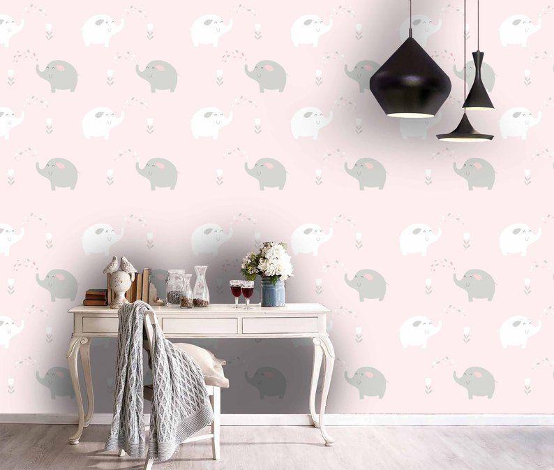 3d Kids Pink Tones Elephant Wallpaper Nursery Wallpaper Etsy Elephant Wallpaper Mural Wallpaper Wall Murals