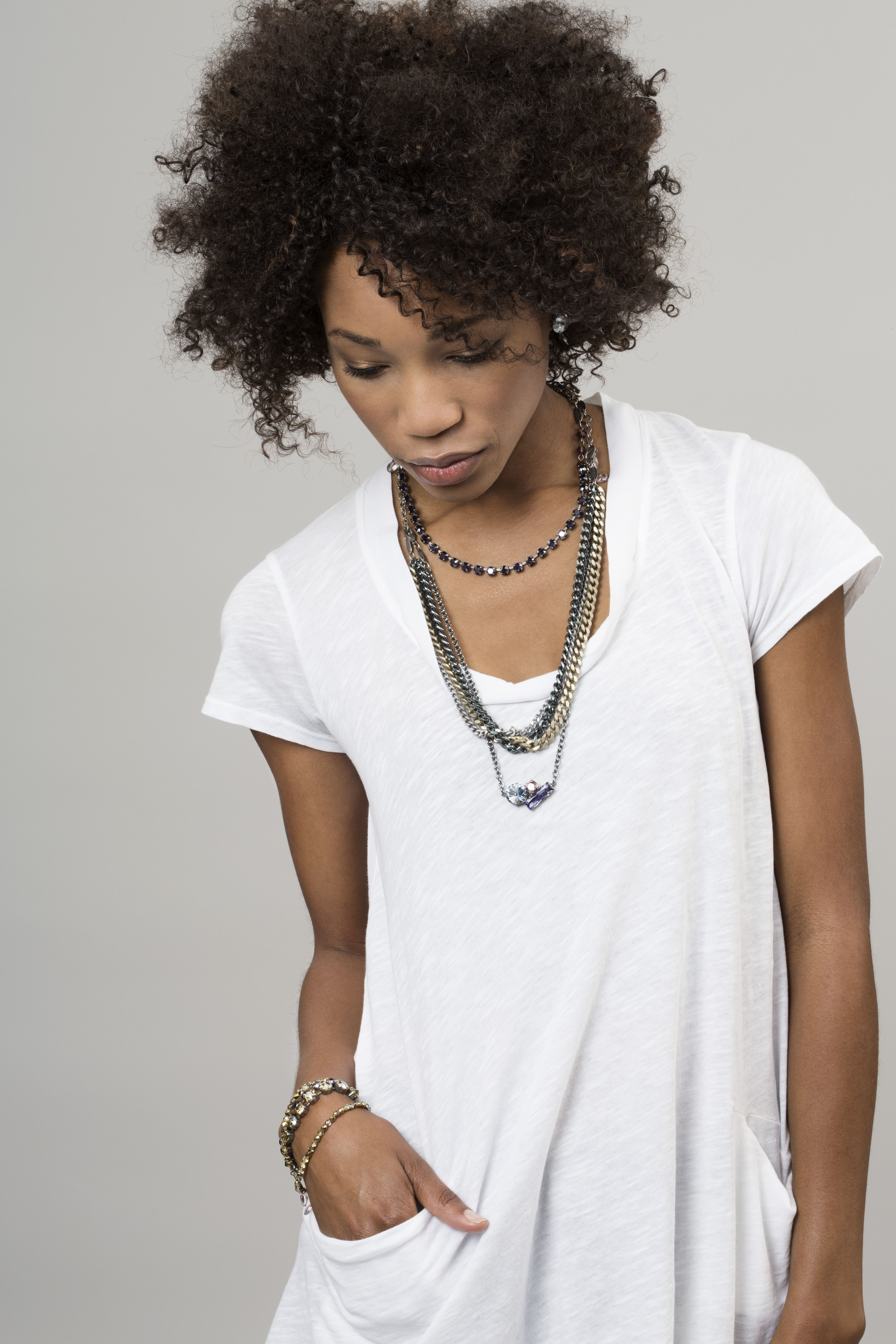 Sabika look necklace - Kamla S Casual White Look Connect Undercover Cluster Necklace With Impact 3 Row Necklace And