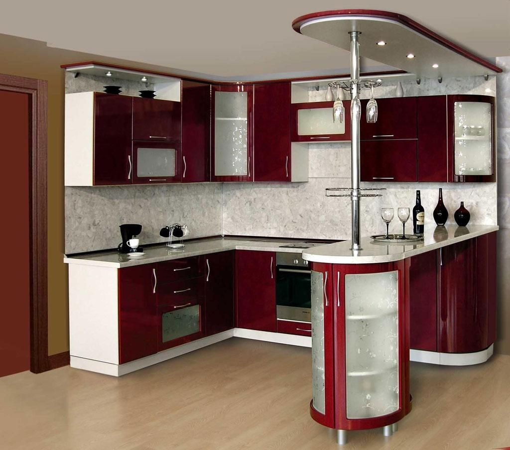 Contemporary Kitchen Table Set In Small Space With Maroon