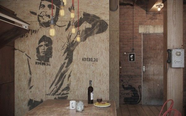Home U0026 Apartment, Charming Stencil Wall Art In Bachelor Retreat Decoration  Also Brick Wall And Wooden Floor Design Ideas: Eclectic Bachelor .