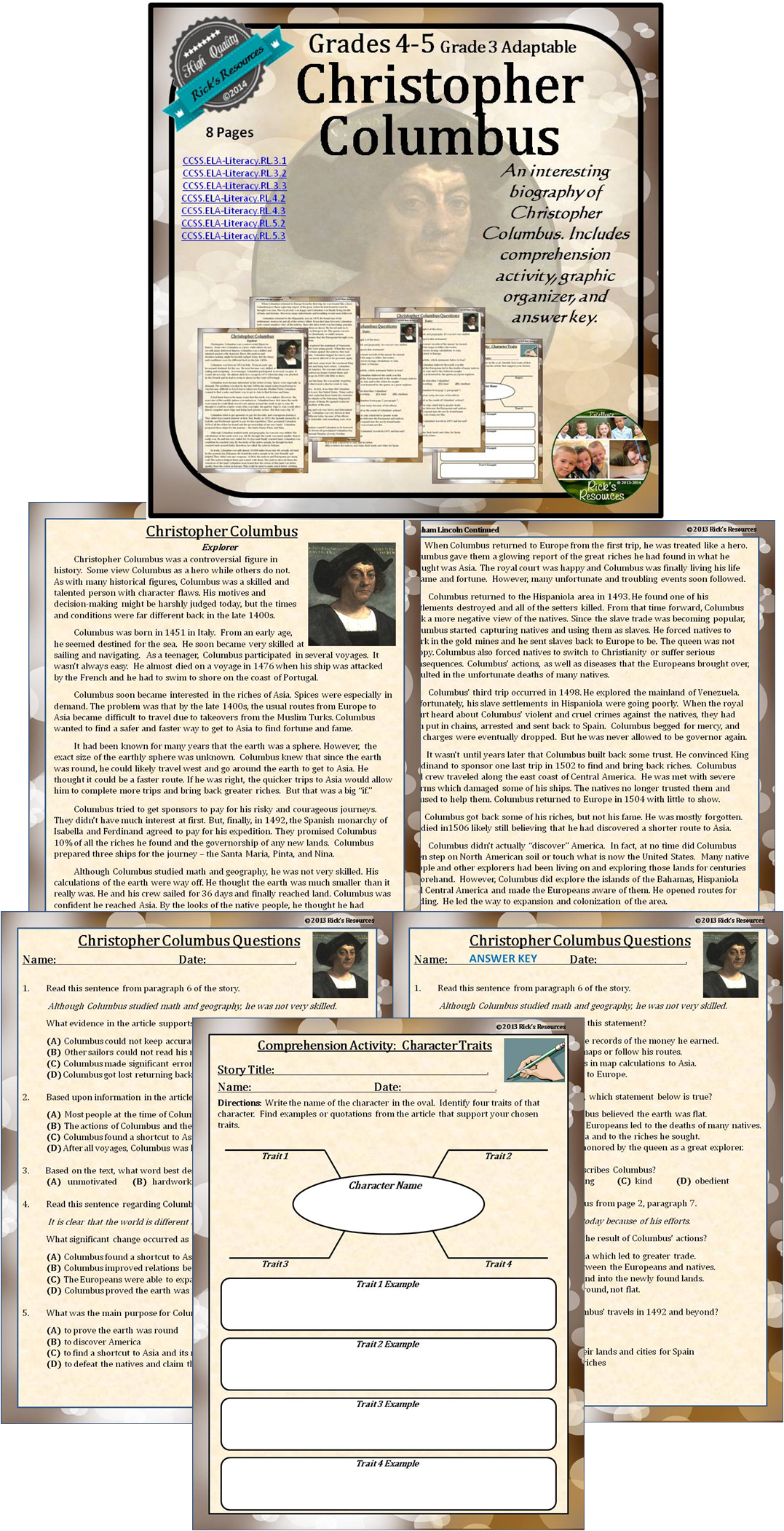 small resolution of Christopher Columbus Biography Reading Comprehension Print and Digital  Versions   Social studies classroom