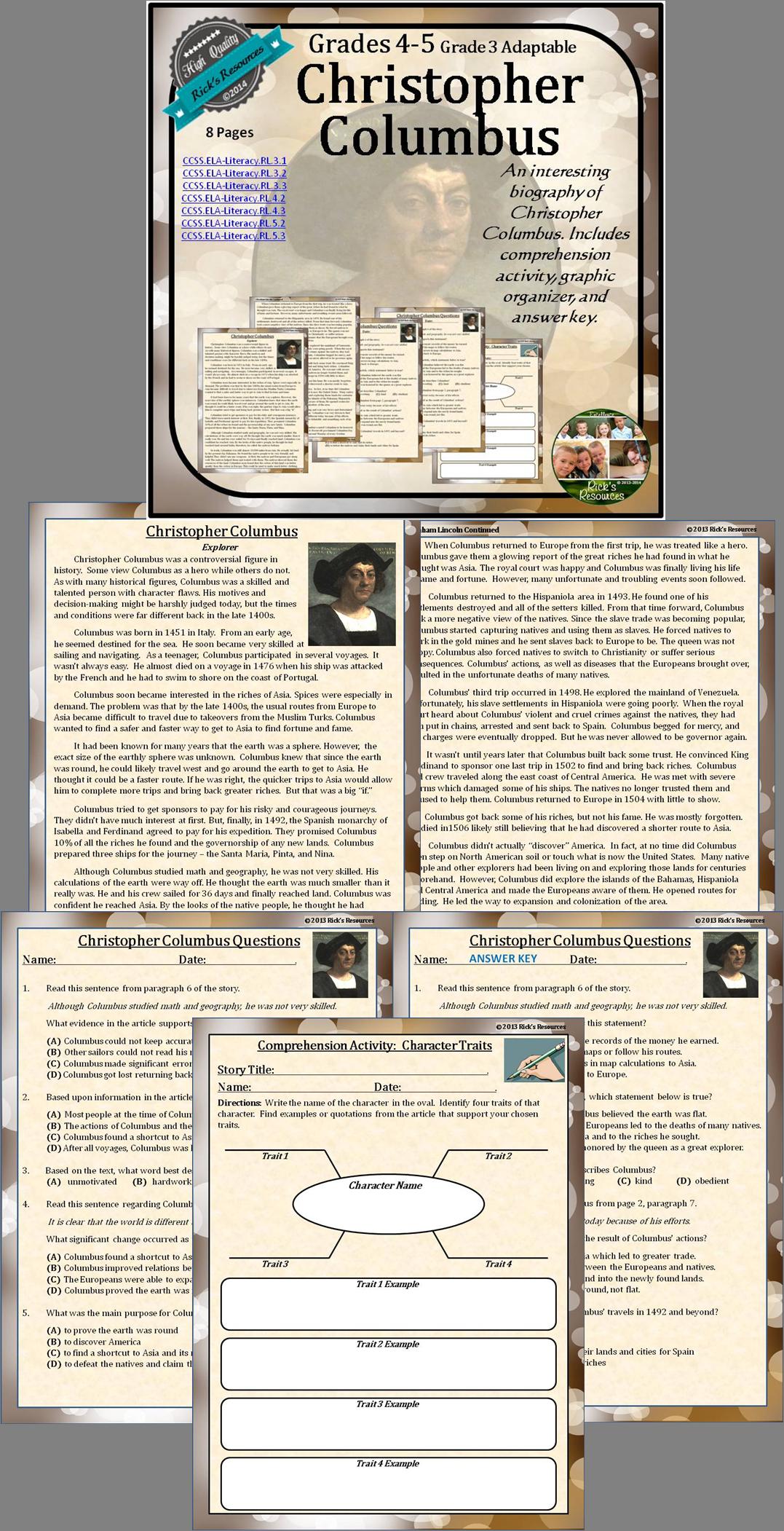 Christopher Columbus Biography Reading Comprehension Print and Digital  Versions   Social studies classroom [ 2102 x 1077 Pixel ]