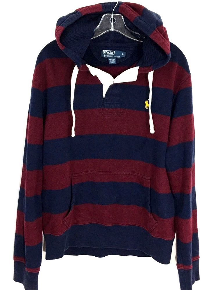 Polo Ralph Lauren Red Blue Striped Heavy Rugby Hoodie Sweatshirt Pullover  Mens L  deb5ebf86