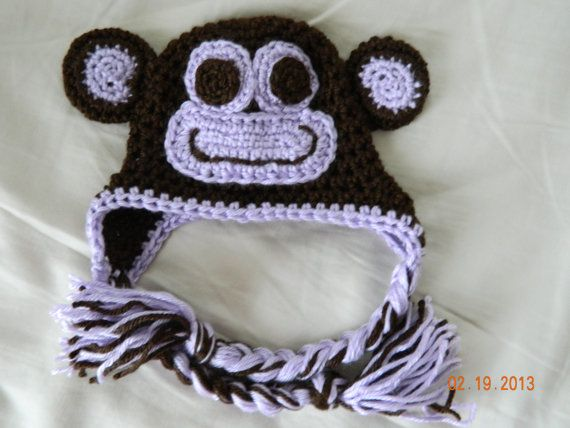 Monkey hat with a lavender face crochet sizes by hooliganshobby, $20.00