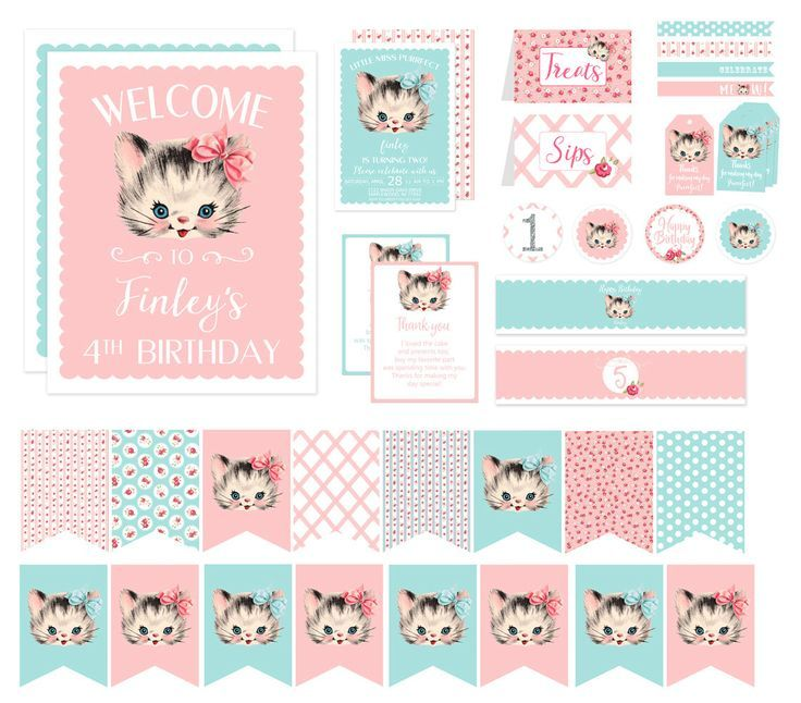Vintage kitten birthday party decorations kitty cat birthday vintage kitten birthday party decorations kitty cat birthday invitation printable shabby chic pink and filmwisefo Image collections