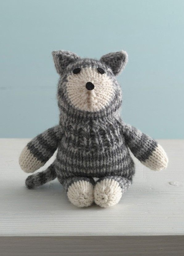 Purrfect Kitty Sock Critter Pattern Knit Sticks String And