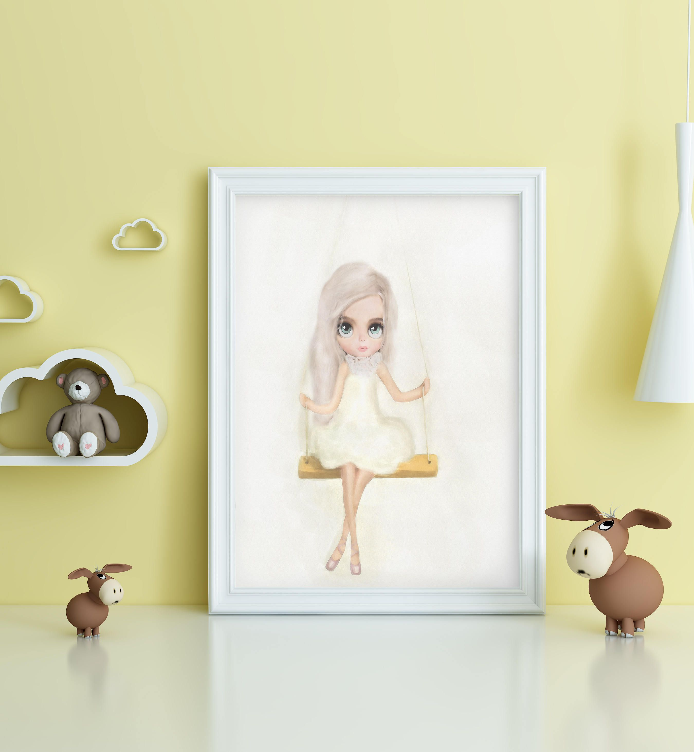 Doll on a swing ,Pastel Nursery Wall Art girl nursery art, new baby ...