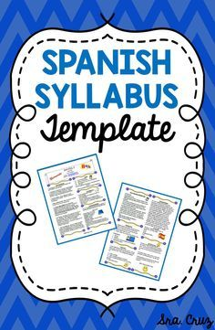 Spanish Syllabus Template  Syllabus Template Classroom