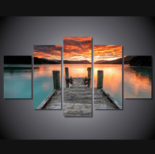 5 Pieces Multi Panel Modern Home Decor Framed Lake Sunset Landscape Wall Canvas Art Octo Treasures 2 Sunset Wall Art Wall Art Pictures Landscape Walls