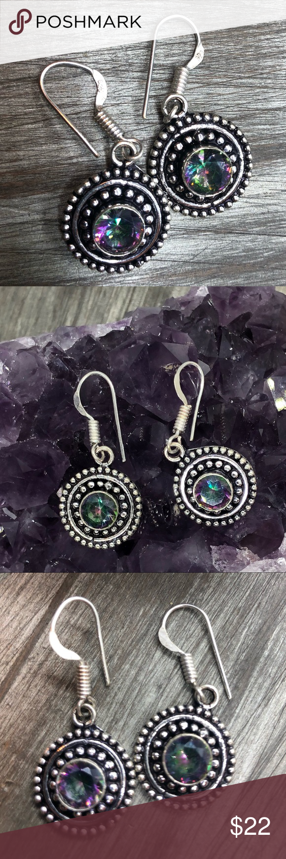 Tribal Mystic Topaz Sliver Stamped 925 Earrings Boutique Mystic Topaz Topaz Mystic