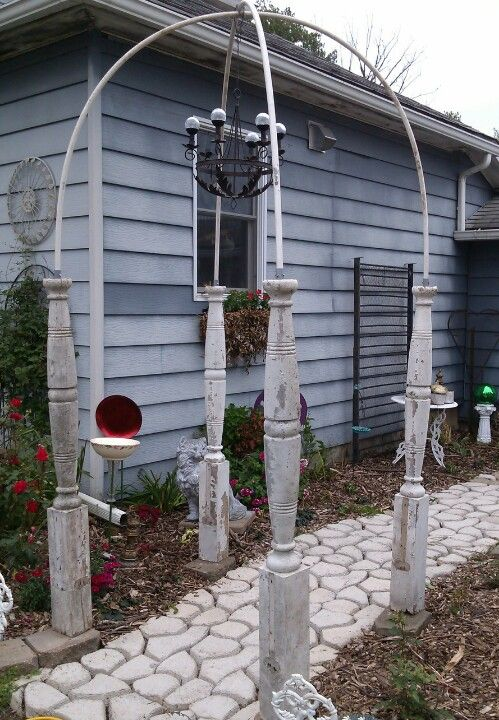 Repurposed Porch Posts Into A Beautiful Entrance For Front