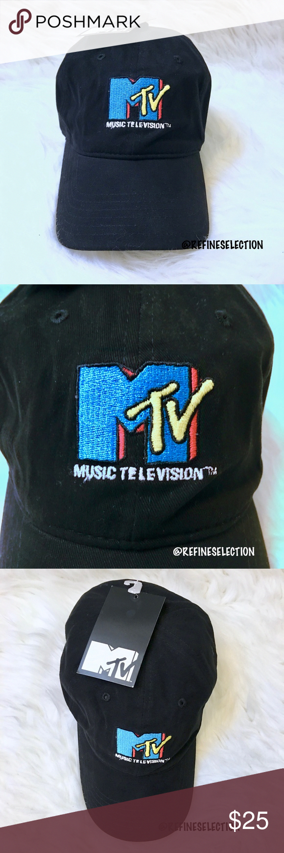 f0c1799baed MTV Logo Embroidered Black Strapback Dad Hat Cap Brand new with tags
