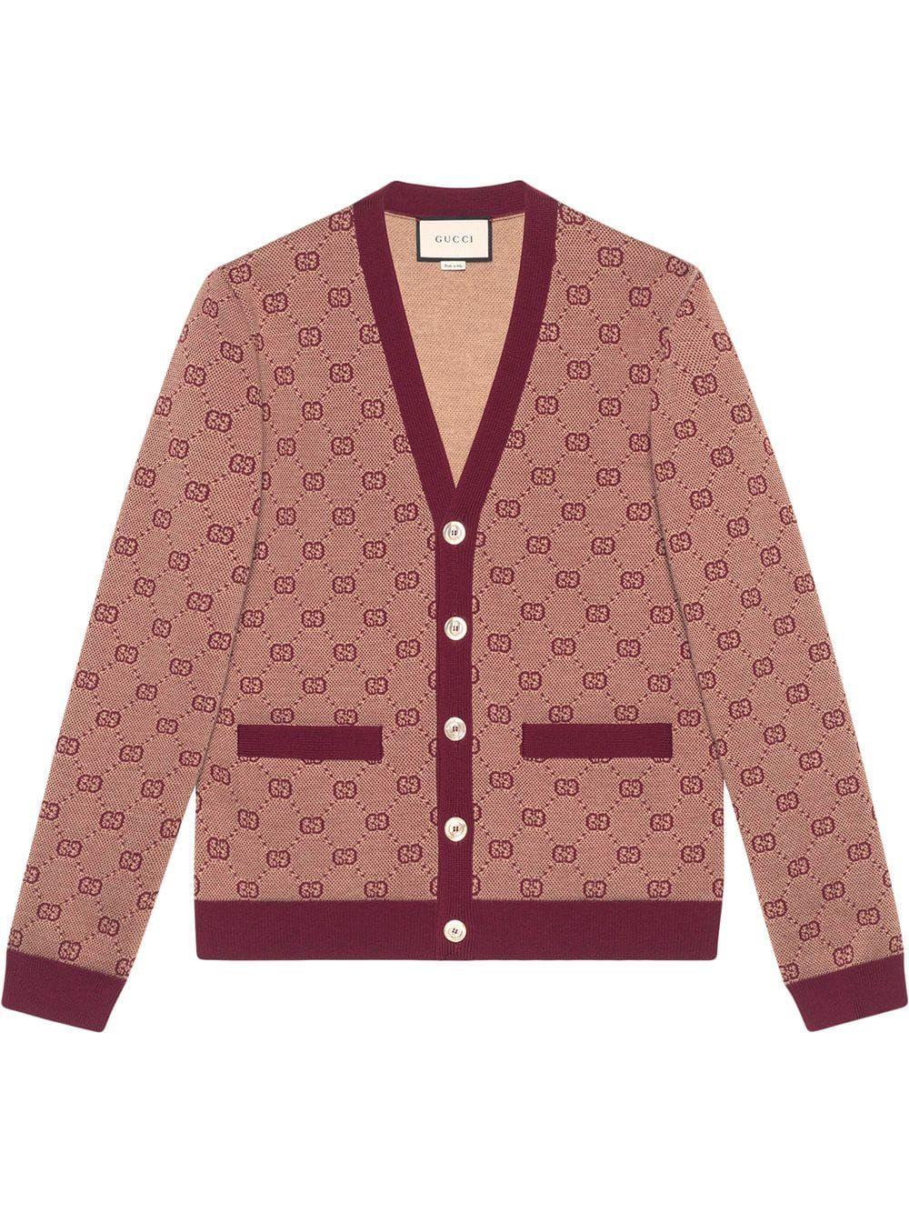 aff9cb5f3d GUCCI GUCCI GG JACQUARD KNIT CARDIGAN - ROT. #gucci #cloth   Gucci ...