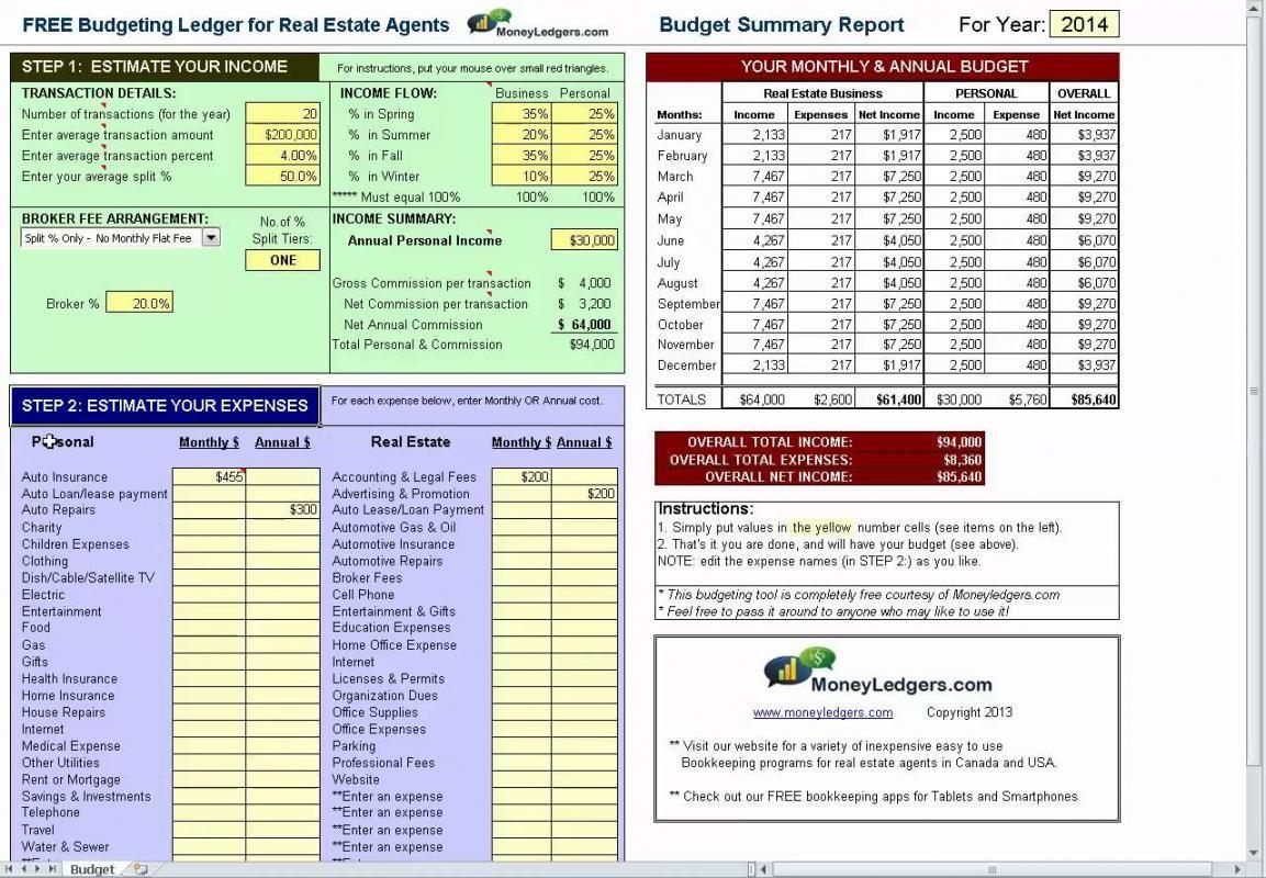 Millionaire Real Estate Agent Spreadsheet Real Estat