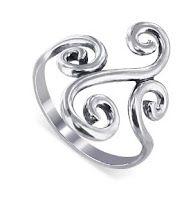 Swirl Design Polished Sterling Silver Ring