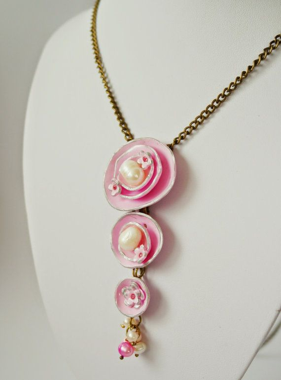 "jewelry necklace ""Pink pearls"" polymer clay handmade free shipping #handmade #etsyretwt"