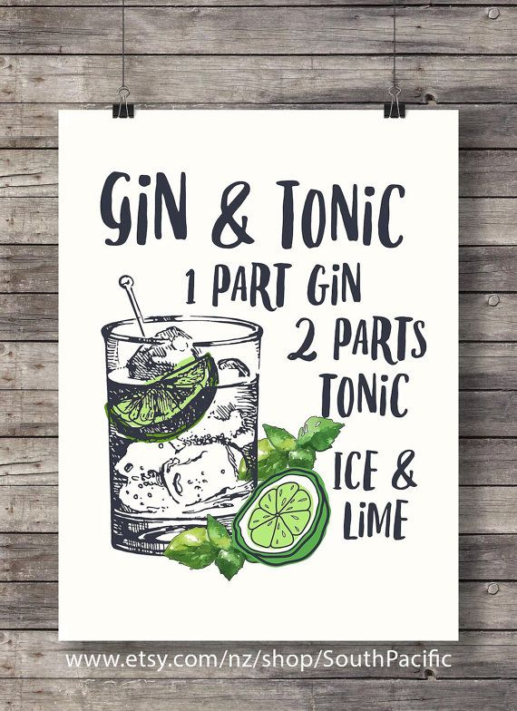 Photo of Gin and Tonic with lime printable Cocktail Illustration Bar Decor  G&T Classic cocktail recipe Printable bar sign wall art print