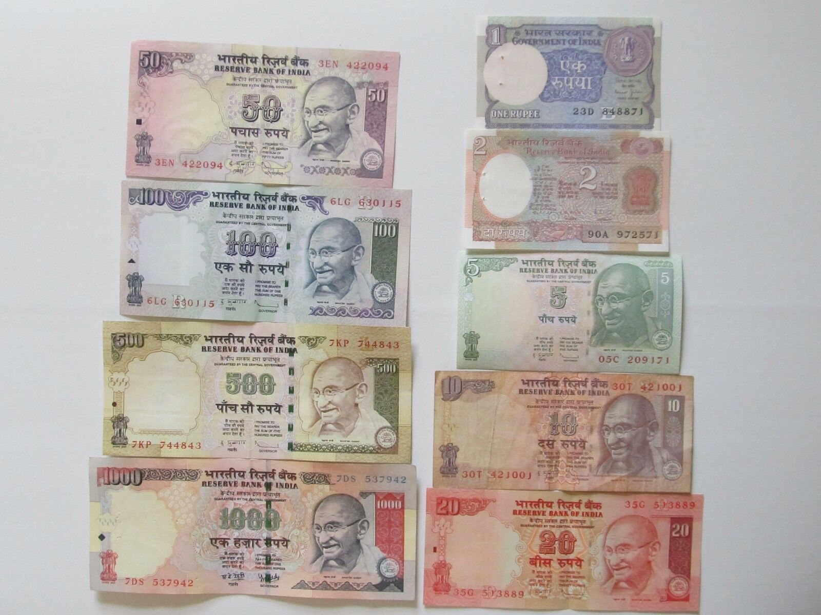 Indian Rupee Currency Paper Money Bank Note 1 2 5 10 20 50 100 500