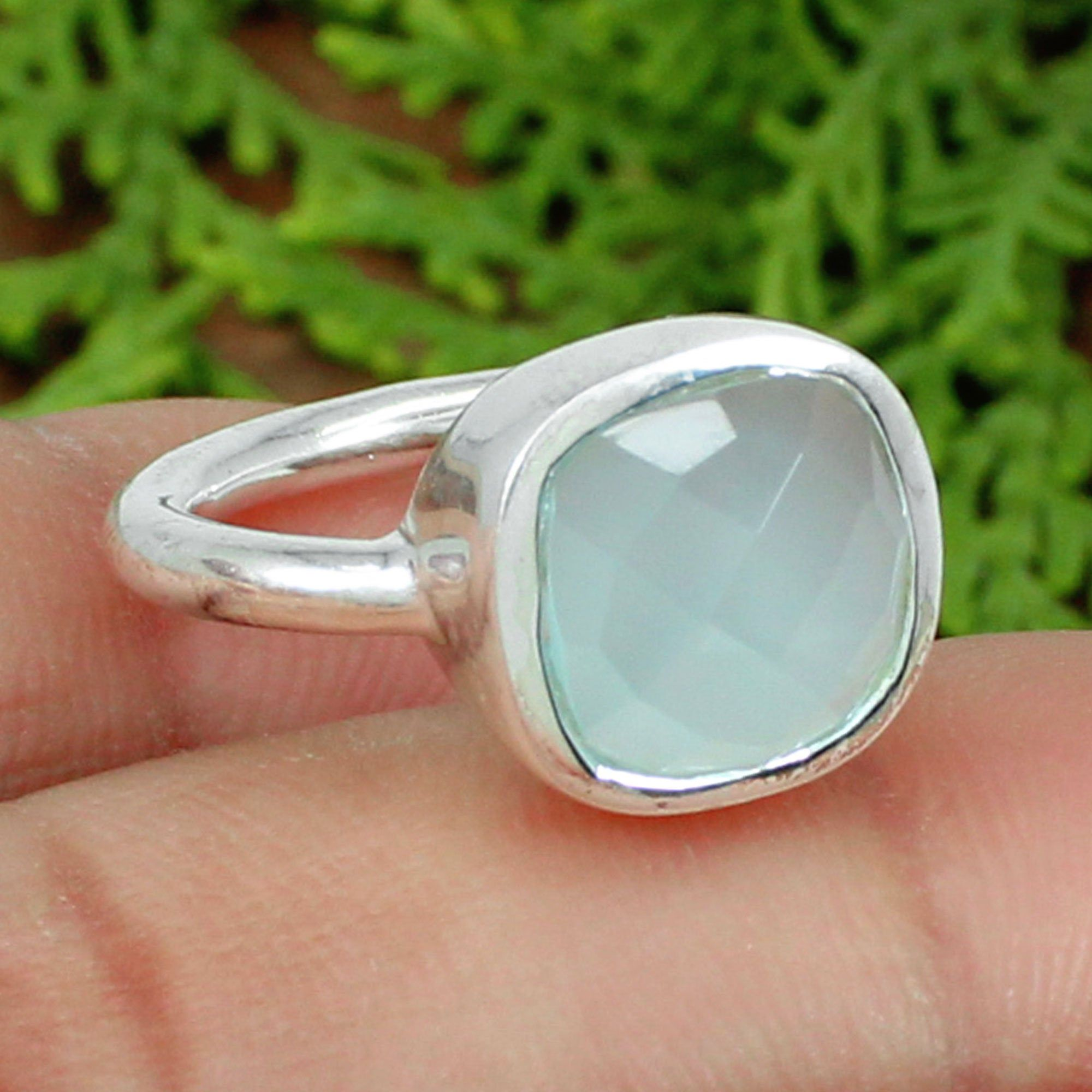 Solid Sterling Silver Ring Natural Handmade Ring Chalcedony Gemstone Ring Natural Aqua Chalcedony Men/'s Ring Heavy mens ring
