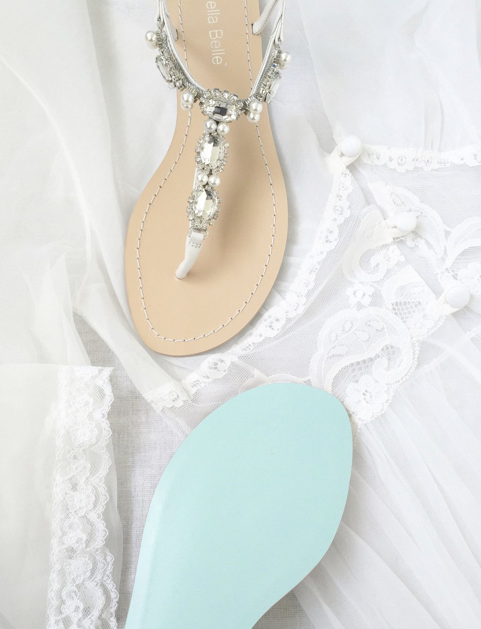 22f592985 Hera - Thong sandal - Rows of sparkling oval cut sparkles and pearls -  Pictures