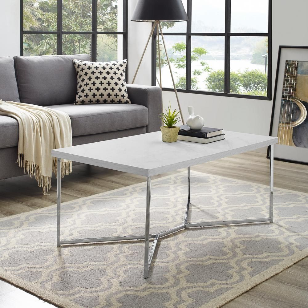 Walker Edison Furniture Company 42 In Chrome White Large Rectangle Faux Marble Coffee Table Hdf42luxwmc The Home Depot Coffee Table Faux Marble Coffee Table Coffee Table White [ 1000 x 1000 Pixel ]