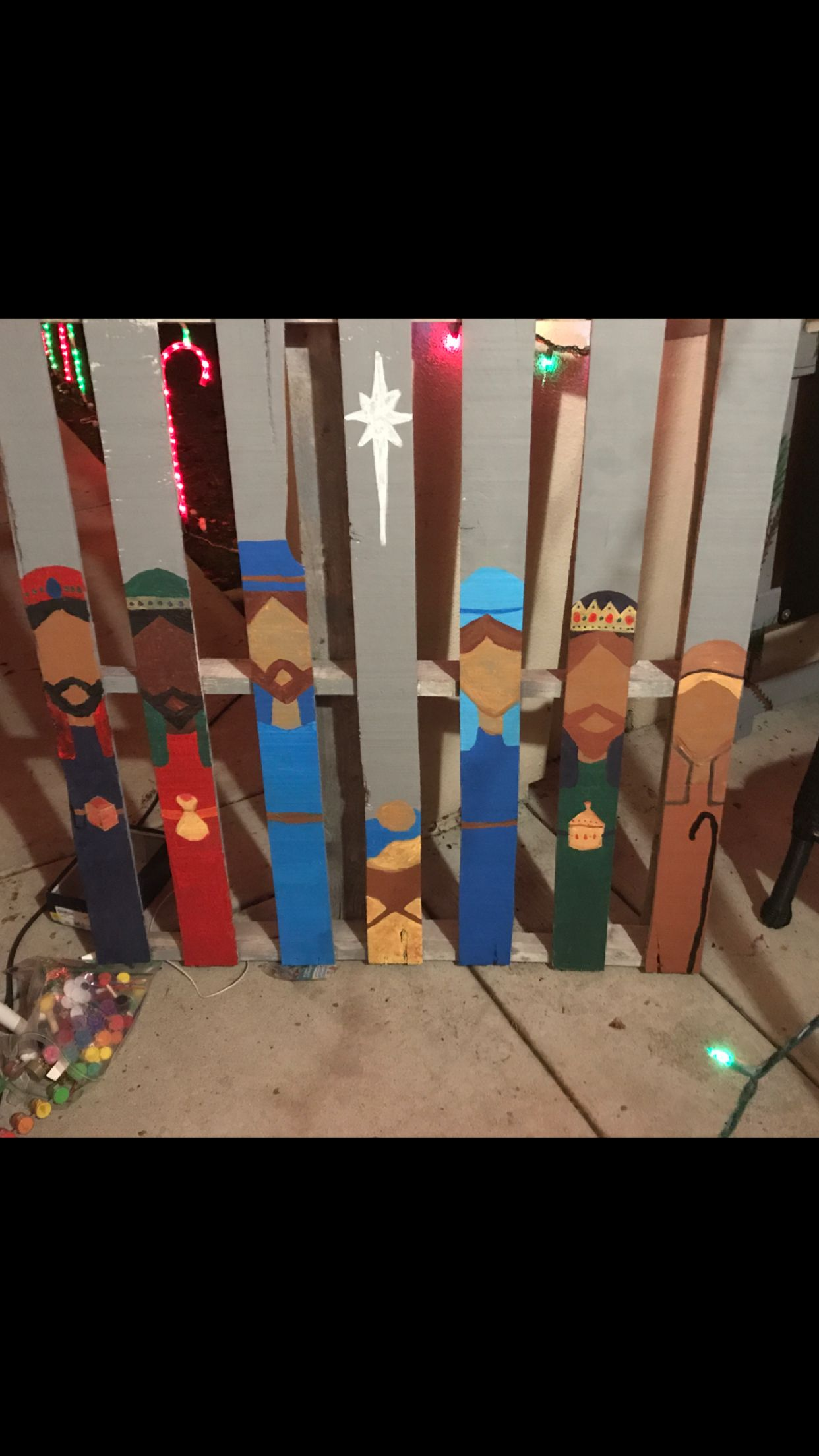 Hand Painted Nativity Scene on a Wooden Pallet   Nativity ...