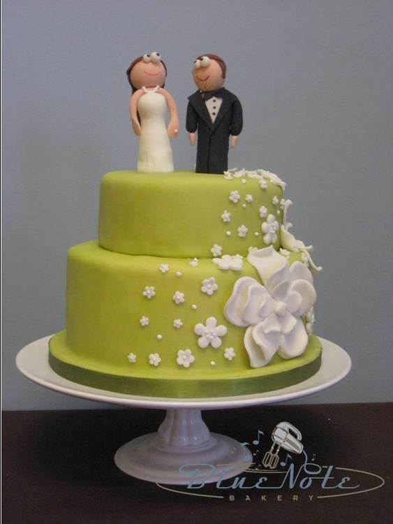 Apple green with white fondant flowers and handmade bride and groom ...
