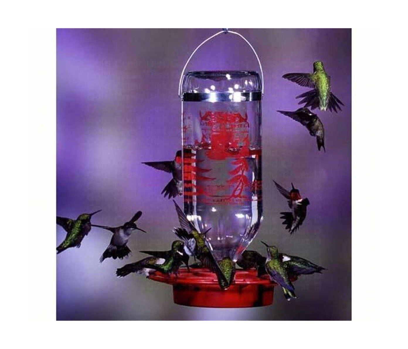 BEST-1 HUMMINGBIRD FEEDER w/32 oz. GLASS BOTTLE, Made in USA. BEST-1 HUMMINGBIRD FEEDER with 32 oz. GLASS BOTTLE. The Original Best-1 Hummingbird Feeder 32 oz. with Glass bottle, bee/wasp proof, built-in perch, & 8 feeding stations. Replacement parts available, base separates for easier cleaning, no O ring required, will not rust, ready to hang. Made In The USA.