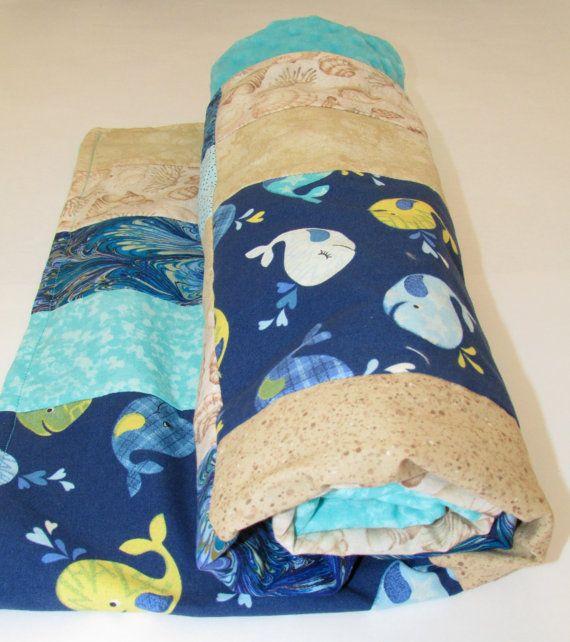 Beach Theme Blanket: Whale Beach Theme Baby Blanket With Turquoise Minky Dot