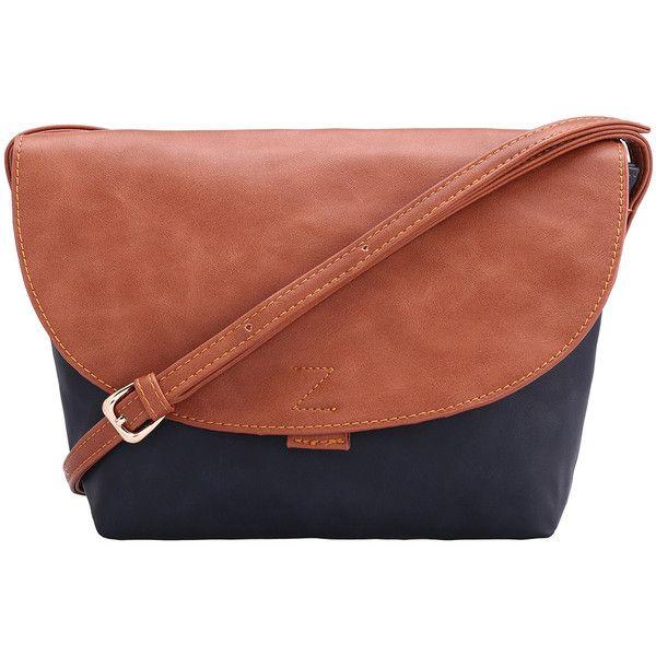Color-block PU Shoulder Bag (28.910 COP) ❤ liked on Polyvore featuring bags, handbags, shoulder bags, blue, color block purse, brown handbags, pu handbags, colorblock handbags and blue purse