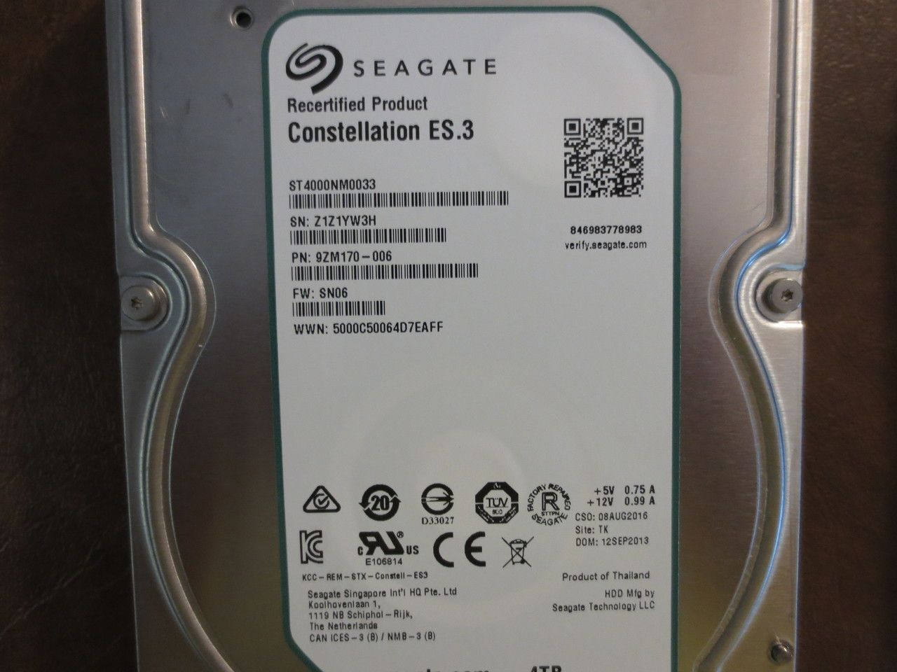 """*Factory Direct* Seagate ST4000NM0033 9ZM170-006 4.0TB 3.5/"""" Sata HDD *0 hours*"""