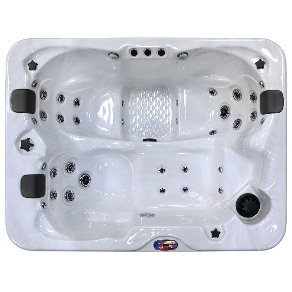 American Spas 3-Person 34-Jet Lounger Spa Hot Tub with Bluetooth ...