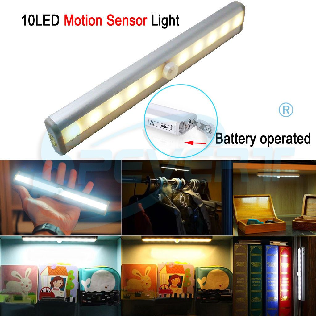 led pir motion sensor light cabinet wardrobe cupboard