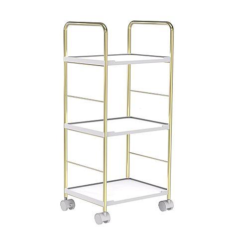 Salt Rolling Cart In Soft Gold White 12 Bed Bath And Beyond