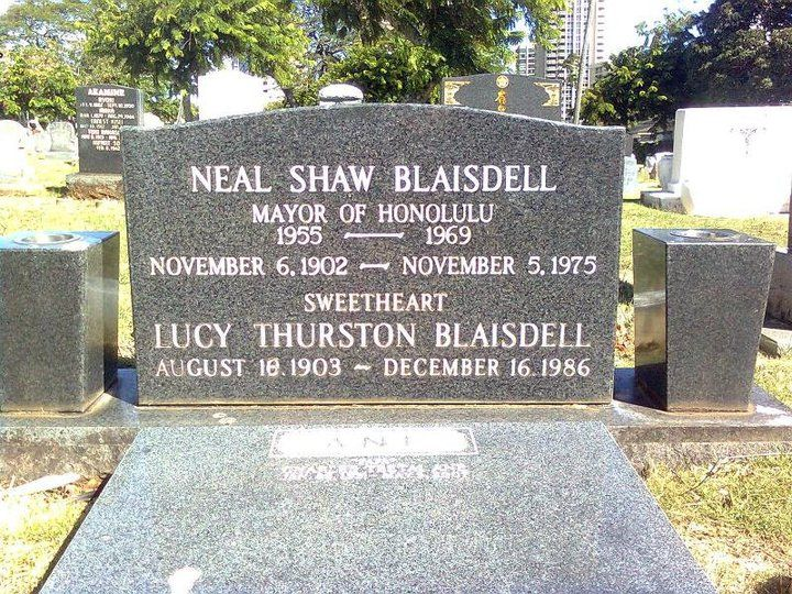 """Neal S. Blaisdell, aka """"Rusty"""", once Mayor, now a park and concert arena. He was elected as representative of the 4th district to the legislature of the Territory of Hawaii in 1945, and the territorial senate in 1947 and 1949. Blaisdell was elected mayor in 1955. As mayor, Blaisdell saw the construction of the John H. Wilson Tunnels through the Koʻolau Range from Kalihi Valley, and erected the Hawaii International Center. After his death, it was renamed as the Neal S. Blaisdell Center."""